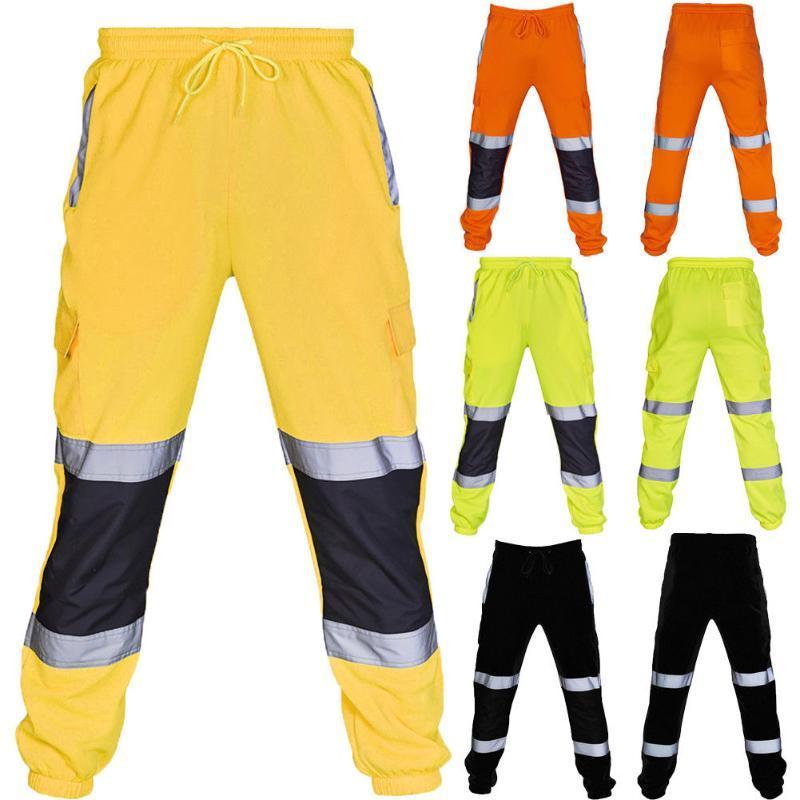 Nouveau pantalon de survêtement de sport Fahison hommes travail Polaires Bas Joggerms Joggers Jaune Noir Orange Vert fluorescent Automne