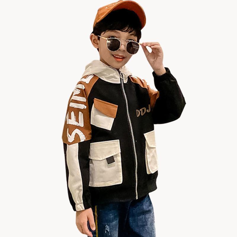 Jacket Jacket Childrens' Patchwork crianças Para roupa dos meninos da letra dos miúdos Casacos Casacos Primavera Crianças de 6 8 10 12 14 Ano