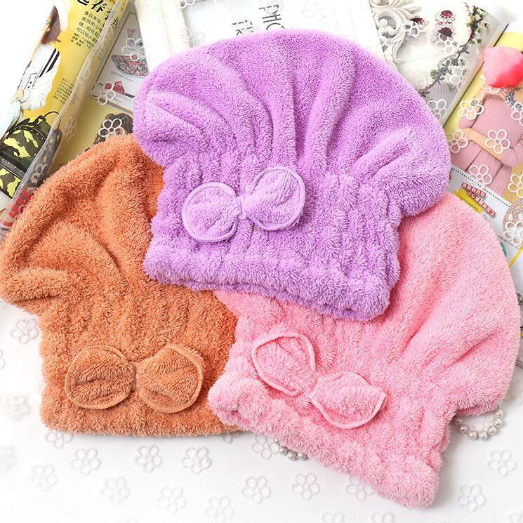 Rápidamente seco de pelo del sombrero sólido de toallas de baño de secado suave absorbente espesado de secado rápido Mujeres Pañuelo de microfibra arco gorros de ducha DHD704