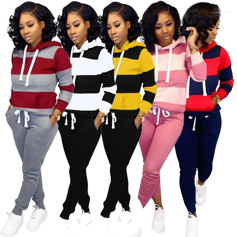 Mode Frauen Zweiteiler Outfits Designer Striped Patchwork-Frauen-Trainingsanzug beiläufige mit Kapuze Langarm-Top-lange Hosen