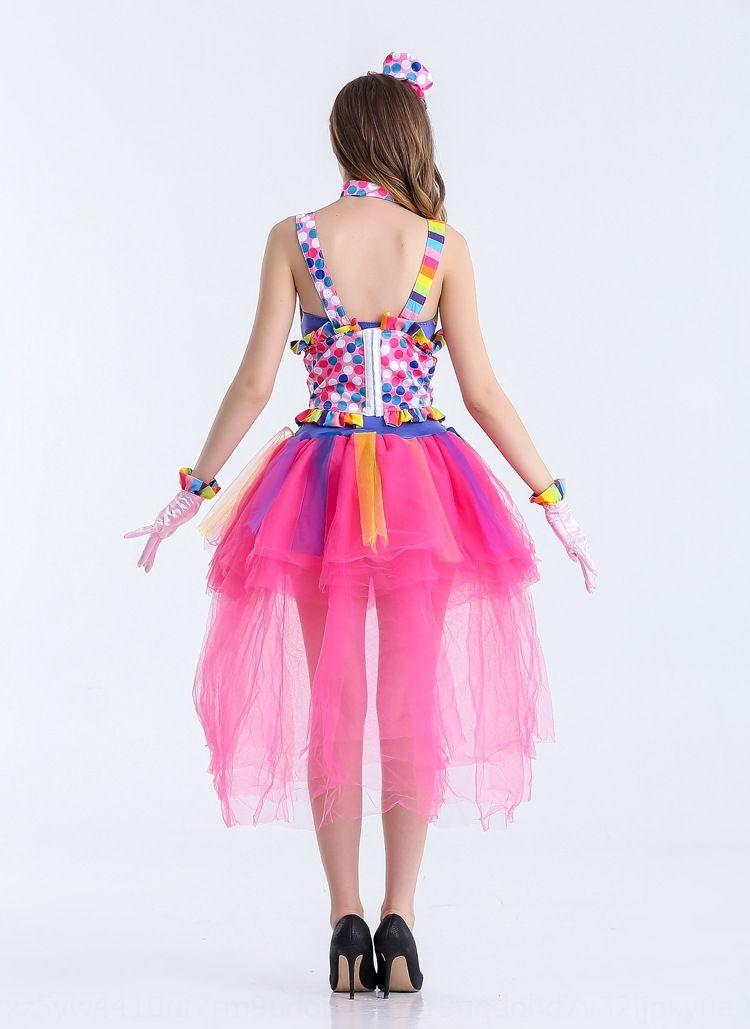 vestito nuovo jO0dI color arcobaleno pagliaccio regina costume di Halloween del partito Magia vestiti del pannello esterno delle donne dei vestiti principessa mago pagliaccio gonna costo