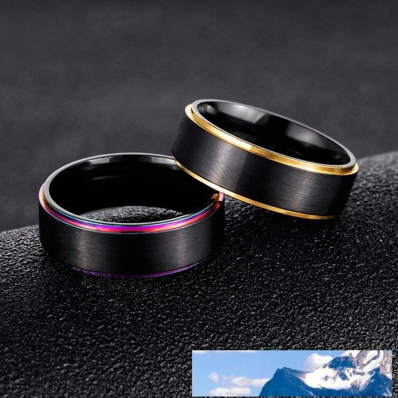 316L titanio acciaio gioielli anello gioielli delle donne anelli Uomo Anelli anello di fidanzamento per le donne arcobaleno bordo dorato nave gioielli goccia
