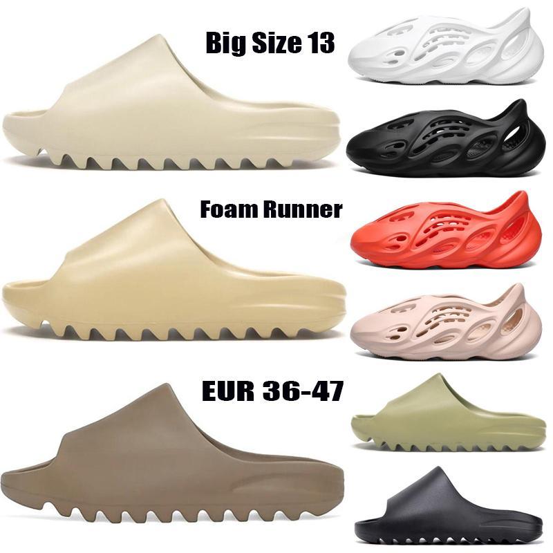 Big Size 13 Foam Runner Kanye West Clog Sandal Triplo Preto Deslize Moda Chinelo Mulheres Homens Tainers Designer Praia Sandals deslizamento-em sapatas