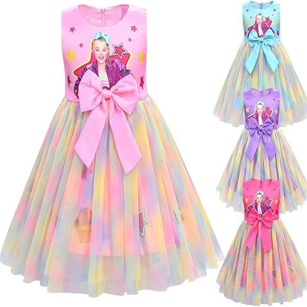 Girls Dress JoJo Siwa malha Bow vestidos de festa de Natal de aniversário Kids Clothing Jojo Siwa Princess Dress 0924