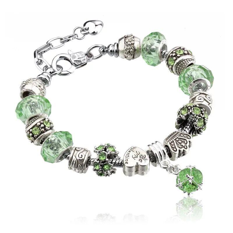 Hot Sale Fashion 925 Sterling Silver Daisies Murano Glass&Crystal European Charm Beads Fits Charm bracelets Style DIY Bracelets