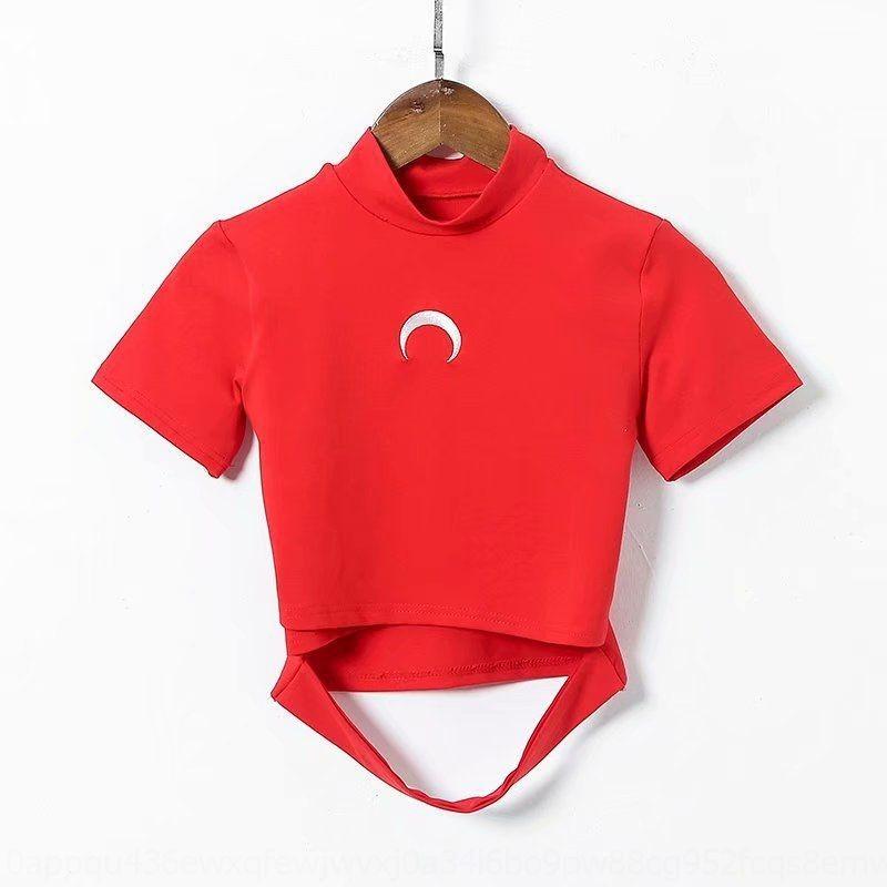 4nFKB 7oXDs nakış Kadın kadınlar nakış tişört için kısa tişört sleeve göbek 2020 Yaz yeni ay giysiler işlemeli