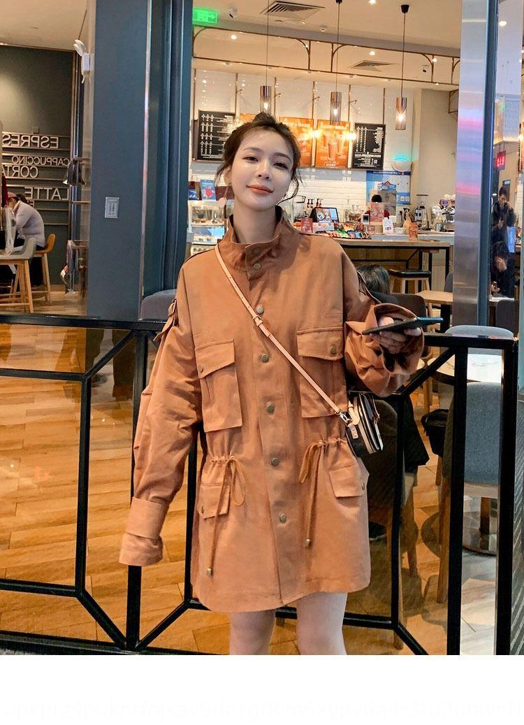 Mid-comprimento de W2oRL Mulheres trincheira 2020 nova cor contraste solta a cor da costura primavera Contraste primavera casaco coreano e Verão sobretudo um