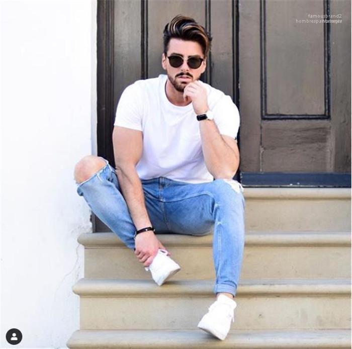 Tayt Homme Ripped Rise Jeans İlkbahar Erkek Tasarımcı Casual Jeans Moda Işık Renkli Orta