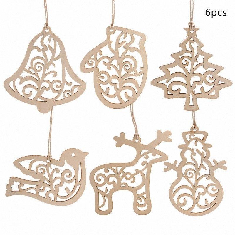 Confezione da 6 in legno Ritaglio di Natale Pendente con stringa Unfinished Legno Fette Xmas Tree goccia Ornamento Per le vacanze fai da te Crafting Qjxa #