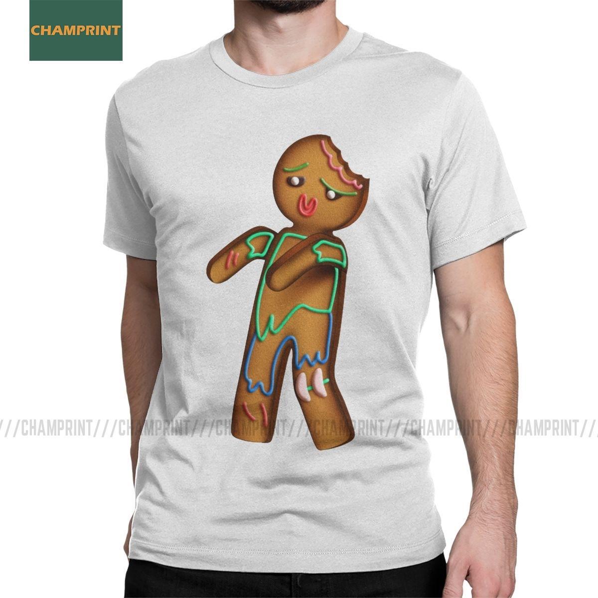 Hombres Camisetas Gingezombie de Navidad de Navidad de pan de jengibre divertido de algodón Tees Short Hombre manga Galletas T Shirts Ropa de cuello redondo