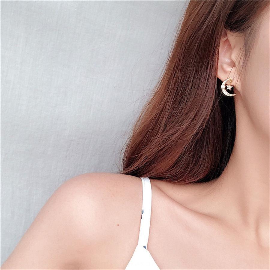 PMC9d moda sencilla pendientes de la estrella y estrella de la luna pequeños de Corea del temperamento con diamantes incrustados personalizada pequeñas pendientes pendientes