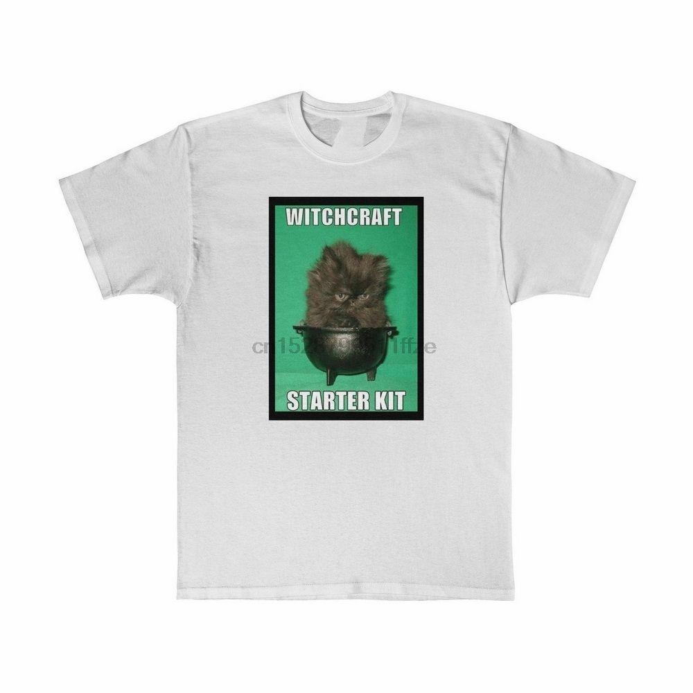Witchcraft Starter Kit Meme T gráfico Halloween Black Cat T-Shirt Tamanho S-3XL da aptidão Camiseta