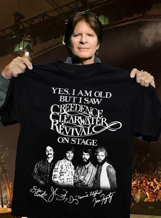 Si Creedence Clearwater Revival On Stage Tutti gli Utenti firme per Fan T shirt sono vecchio ma ho visto
