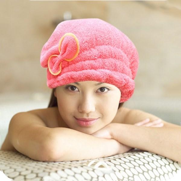 Yasidan yeni sevimli yay duş başlığı, mikrofiber çabuk kuruyan emici saç kurutma kap fabrikası doğrudan satış kalınlaşmış
