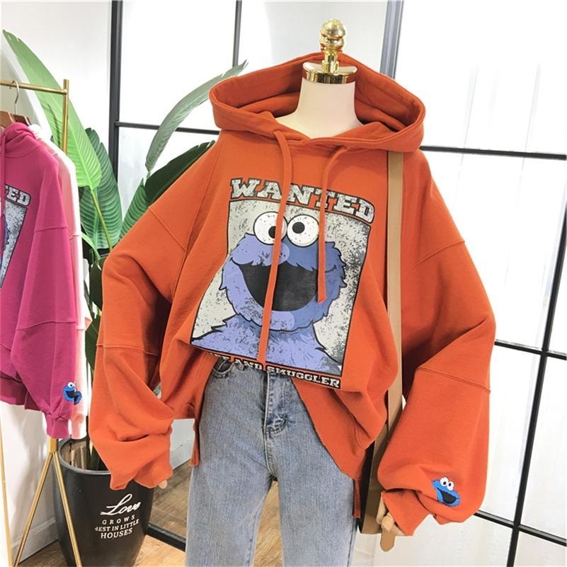 Nueva Maxi algodón con capucha de las mujeres de gran tamaño Streetwear la camiseta de la historieta de modelo fresco con capucha sudaderas Estudiante Adolescente Y200915