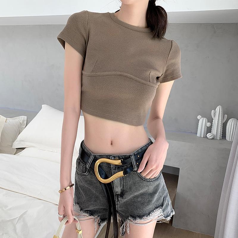 Xu6PY Xiaolu taillierte 2020 kurzärmelige gestricktes Nabel Frühjahr / Sommer-Top-koreanische beiläufige T-Shirt Art und Weise für T-Shirt Frauen