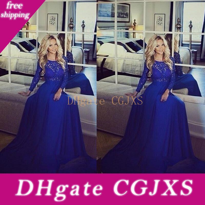 Элегантный Jewel Русалка Royal Blue вечерние платья шифон с длинными рукавами плюс размер Пром платья Мода Матери платье Гость Bo9685