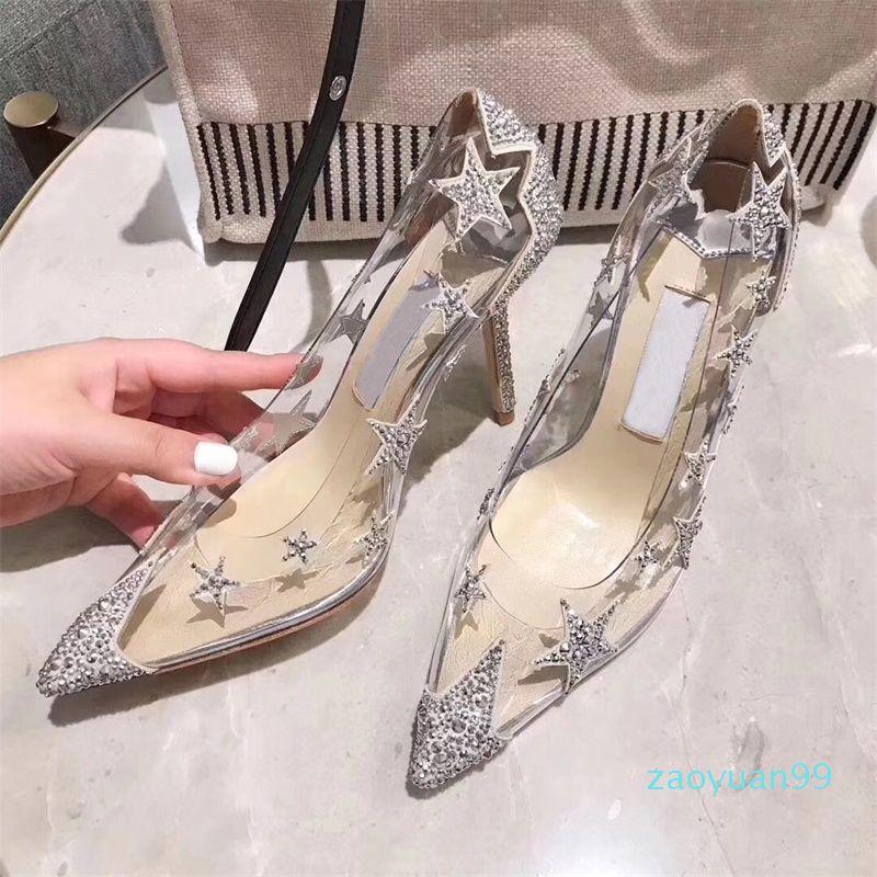 Sıcak Satış-Gümüş Temizle Yapay elmas Yıldız Sivri Gelin Ayakkabıları Tradingbear Şeffaf Kristal Ayakkabı 3 Renkler Tasarımcı Yüksek Topuklu