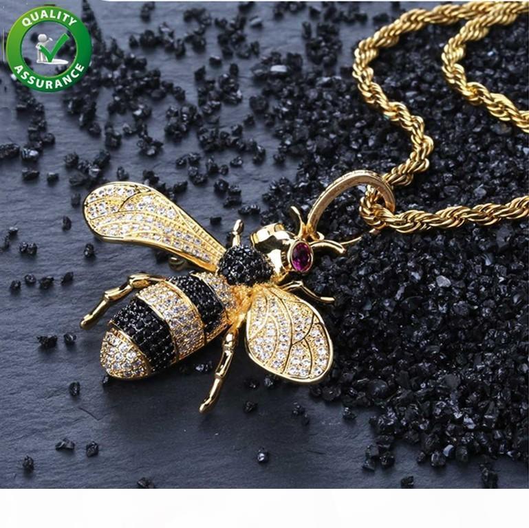Iced Out Pendant Hip Hop Jewelry Micropave Colar Simulado CZ diamante Bling Bee Pendant com corda cadeia por Homens Designer de Luxo Marca