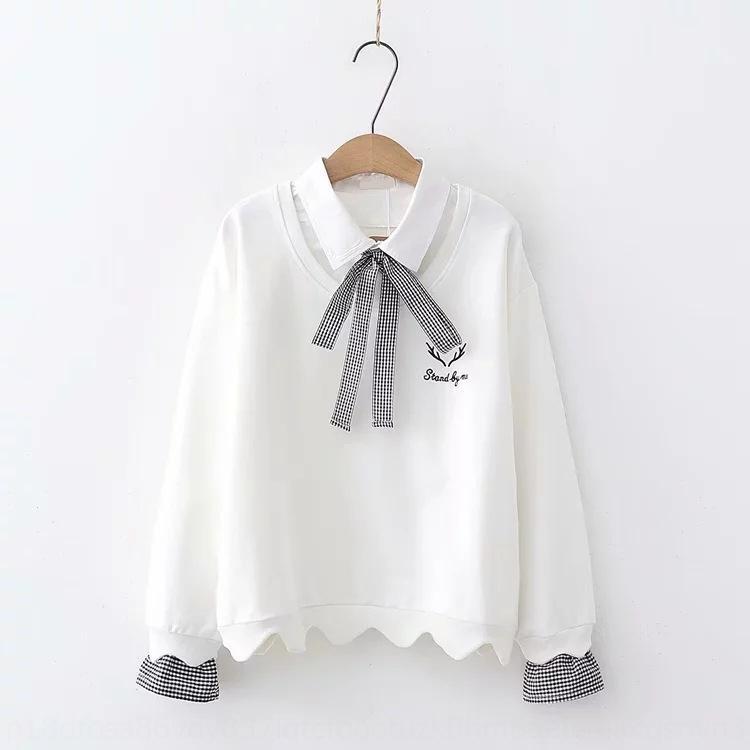 Oxqlw suéter nueva letra elegante arco dulce freshstyle de manga larga estudiante superior de la mariposa suéter superior femenino de verano 45715