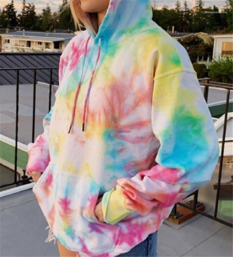 Patrón teñido anudado de los hoodies ocasionales o-cuello de la manga color natural de las sudaderas con capucha para mujer de ropa para mujer diseñador de moda con capucha