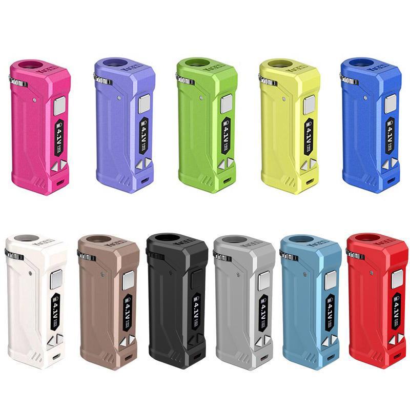 정통 Yocan UNI는 OLED 디스플레이 DHL 무료로 상자 모 (11 개) 색상 650mAh 예열 VV 배터리에 대한 모든 510 카트리지 분무기를 PRO