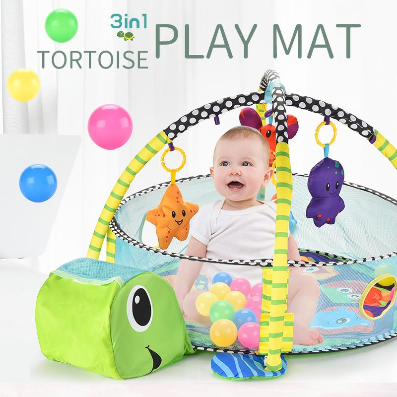3-in-1 tortoise play mat Ball Pool baby rugs 3-in-1 baby activity gym and ball pit with 12 Balls/Doll Rattle TW2008157