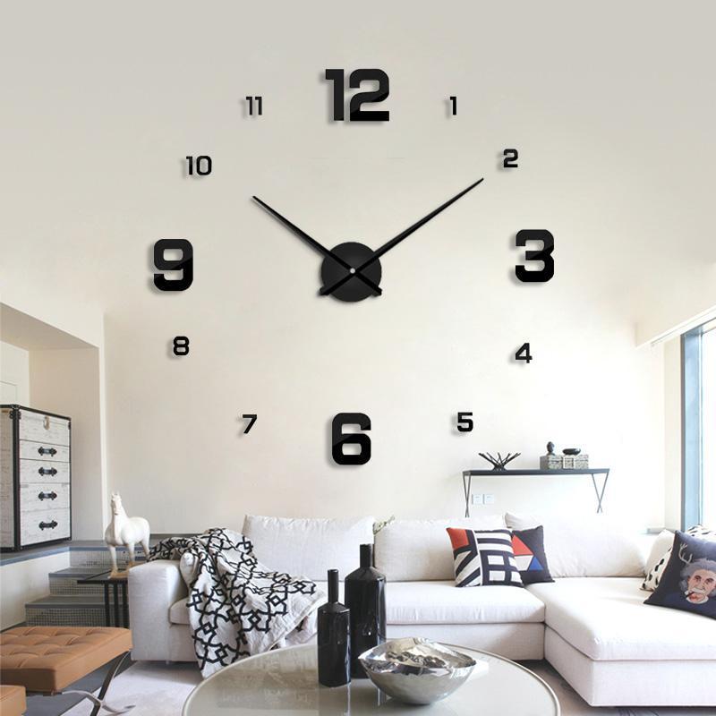 Decor real Chegada Moda Etiqueta Diy relógios de parede Big Room relógio Quartz Nova 2020 Estar Espelho Apressado Modern 3D Clocks oQYlN