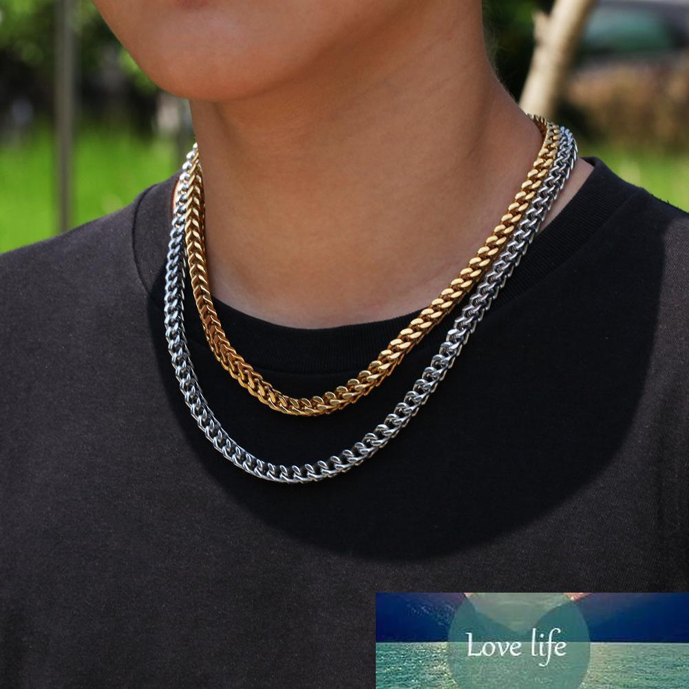 6mm Men chain Gold Tone Stainless Steel Gold Cuban Chain Waterproof Men hiphop Curb Link Necklace mens jewelry