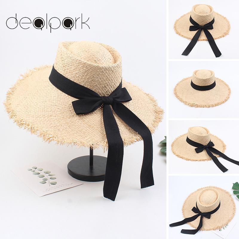 2020 Летняя мода ВС Hat Женщины Рафия соломенной шляпе лук ленты Fedora завитые широкими полями Holiday Beach женский летний Cap Хаки