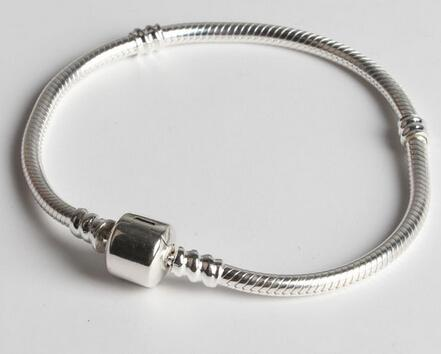 15cm ~ 22cm 3mm pan solid sterling silver 925 bracelets chains beaded bracelets fit for 4.5 or 5mm hole size beads