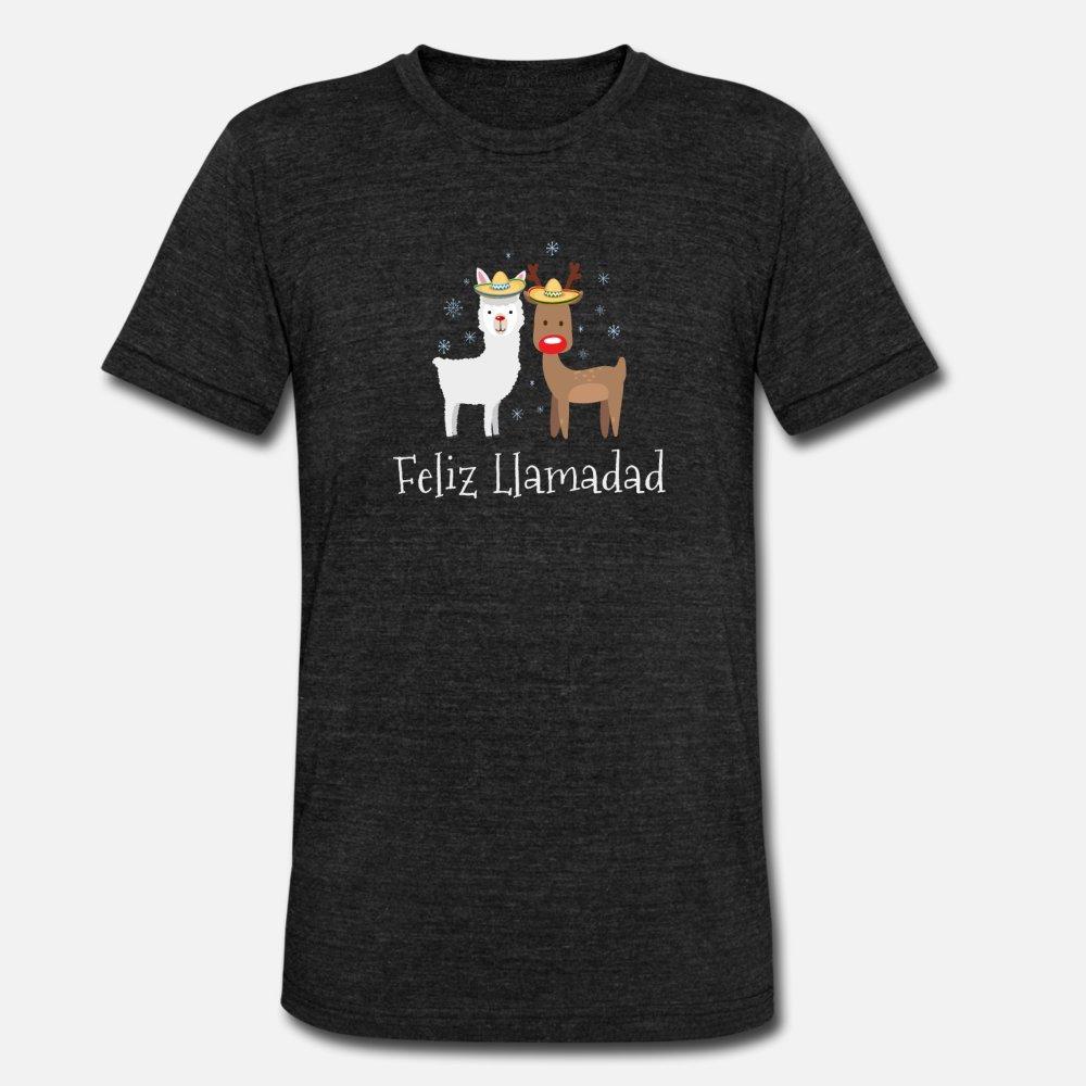 Feliz Navidad Navidad Llamadad Llama regalo camiseta de los hombres Camiseta Personalizar el tamaño S-3XL Ropa luz del sol divertido ocasional de la camisa del resorte del ocio