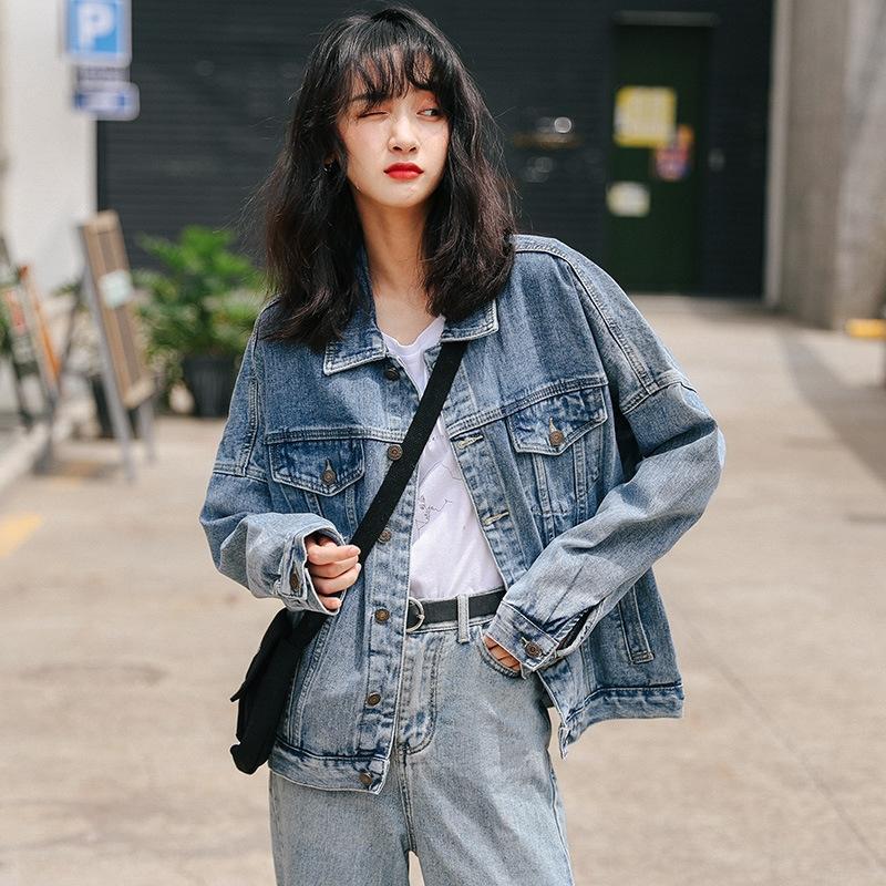 CZhYf Gevşek orta boy giyim öğrenci moda Kore moda rahat giyim kol klip ceket bfstyle uzun kot ceket kadın kol