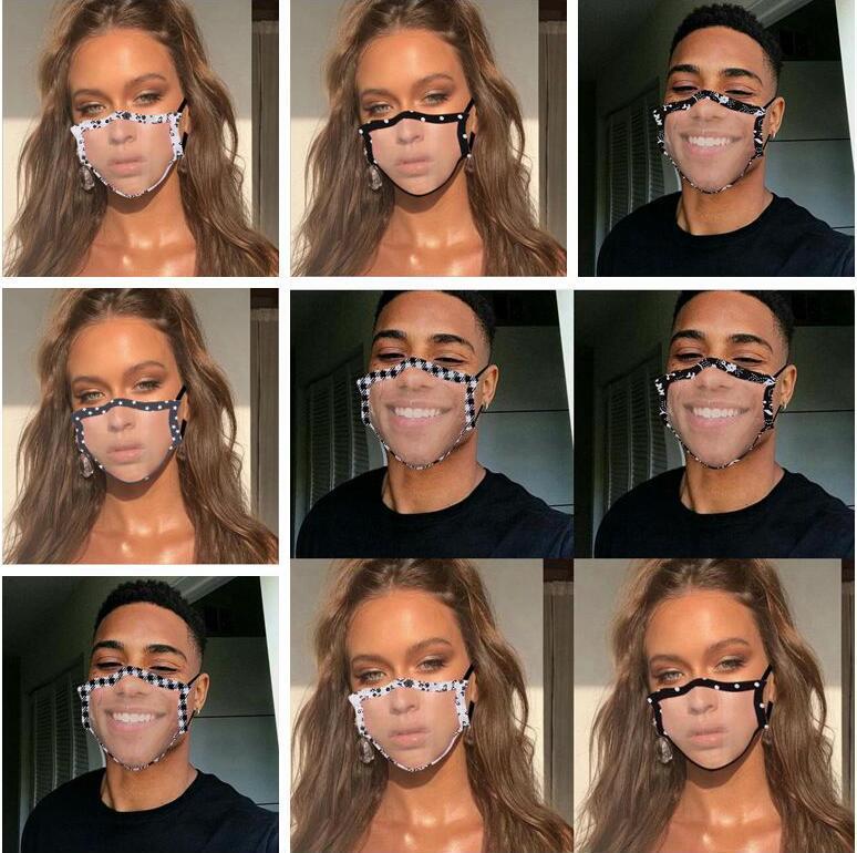 Máscaras Limpar janela visível Boca Máscara Lip Idioma Dustproof Mask Fashion Designer adulto Lace Floral Visible cobrir a boca DWC872