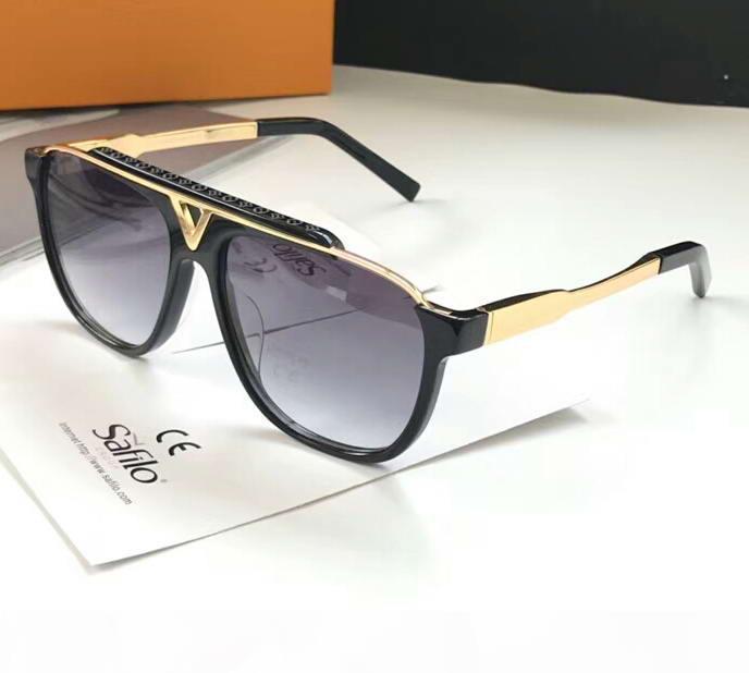 Gafas de sol de lujo de la mascota piloto Oro Negro gris degradado de lentes de gafas de sol de diseño Sonnenbrille para los hombres de los vidrios Sombras nuevo con la caja