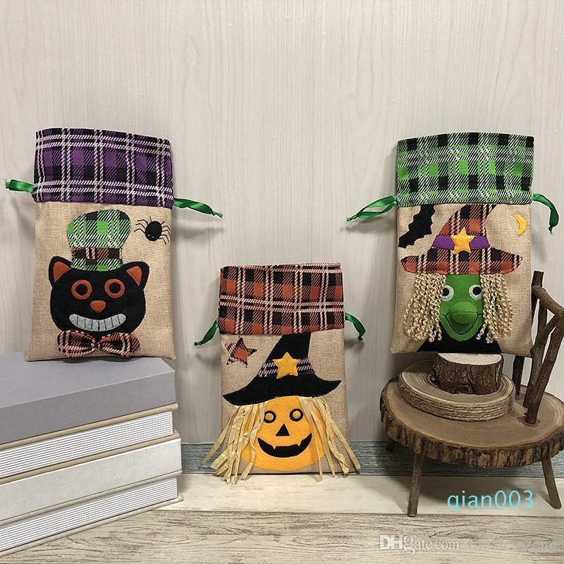 Nueva Halloween Caramelo Bolsas para el bolso bolsa de calabaza Partido regalo de los niños Bolsos de lazo de Halloween Decoración fuentes de los apoyos envío gratis