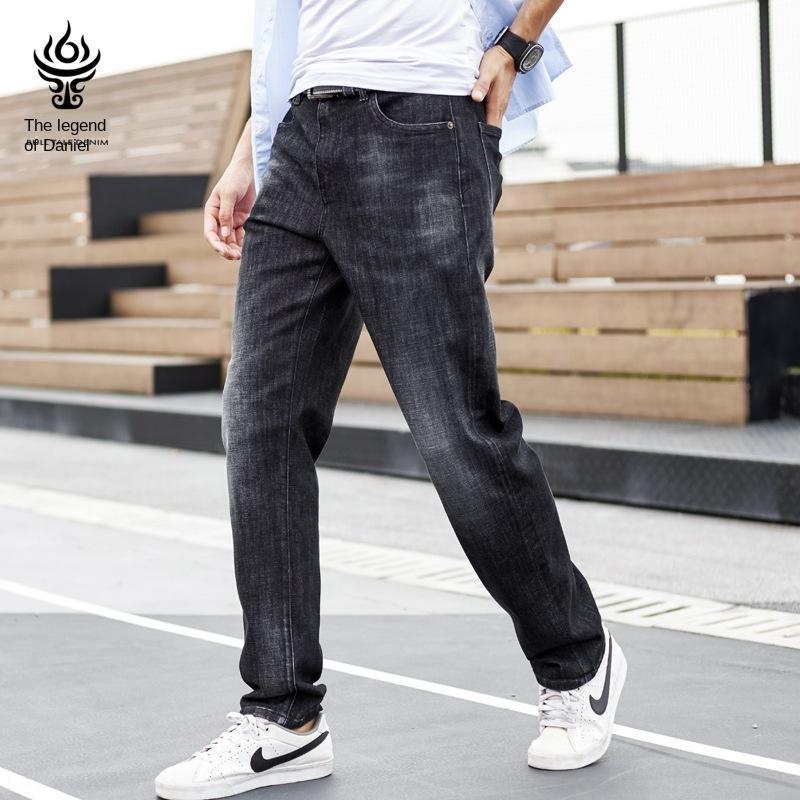 RmgWa primavera e verão calças versáteis soltos grande tamanho simples calças compridas em linha reta jeans stretch dos homens calça casual Casual calça jeans homens das