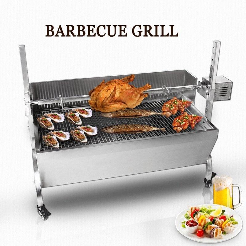 ITOP BBQ griglia a carbone di maiale allo spiedo girarrosto rosticceria Barbeque Macchina elettrico multifunzionale Griglia per barbecue in acciaio inox B 2 Campi 7MUC #