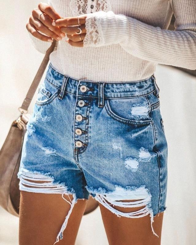 2020 2020 donne di nuovo modo di estate Ripped foro bicchierini del denim dei jeans delle donne vita alta casuali sexy shorts Push Up Skinny jeans Hot 86AT #