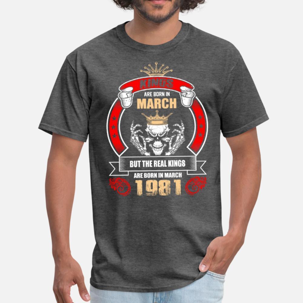 Короли родились в марте, но только Real Королей Bo тенниска мужчина Customize 100% хлопок вокруг шеи подходит подарки Юмор Летнего стиль Природной рубашки