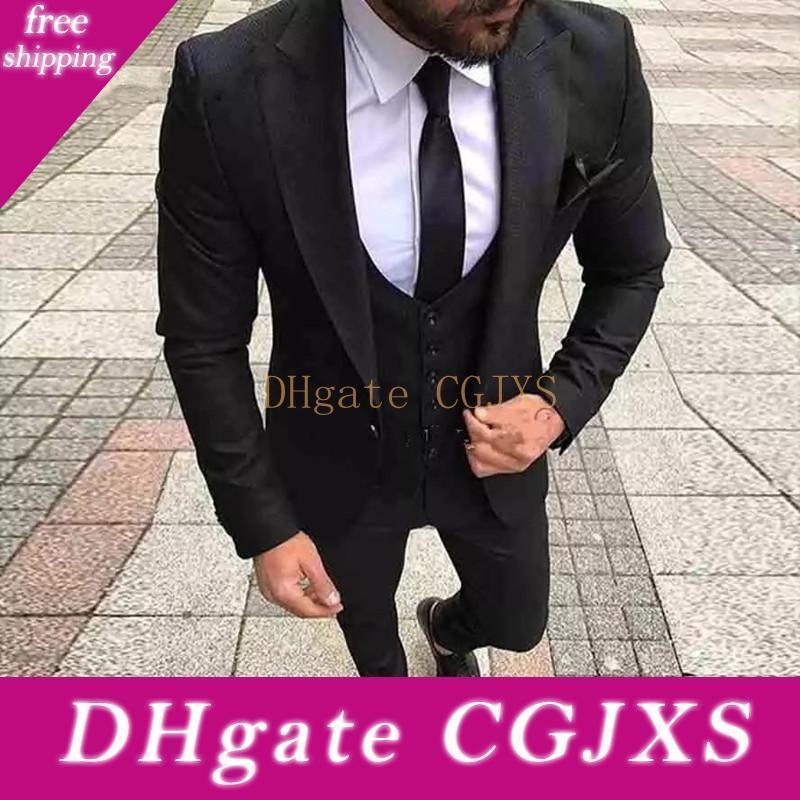 Nuovo pulsante arrivo Un abito nero da sposa smoking dello sposo picco risvolto Groomsmen Mens di feste (giacca pantaloni legame maglia) 560