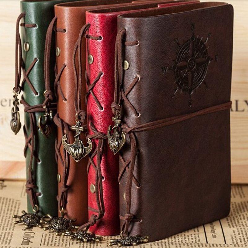 Retro Spiral Notizbuch-Tagebuch Notepad Weinlese-Piraten-Anker PU-Leder-Note Book Austauschbare Briefpapier Geschenk Reisende Journal C0924