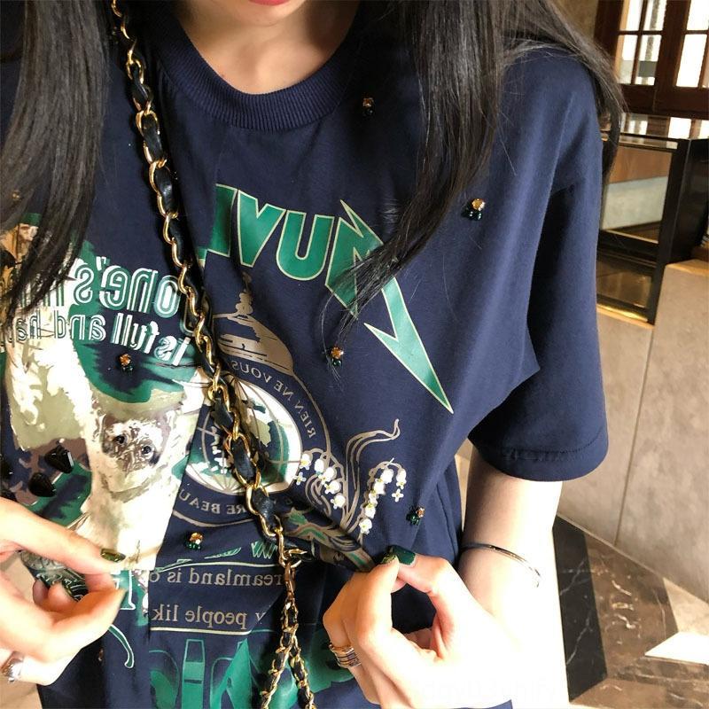 VTlqS 2020 Estate new navy blu industria pesante a maniche corte allentata del tutto-fiammifero maglietta casuale usura maglietta superiore delle donne possono essere sostituite delle donne