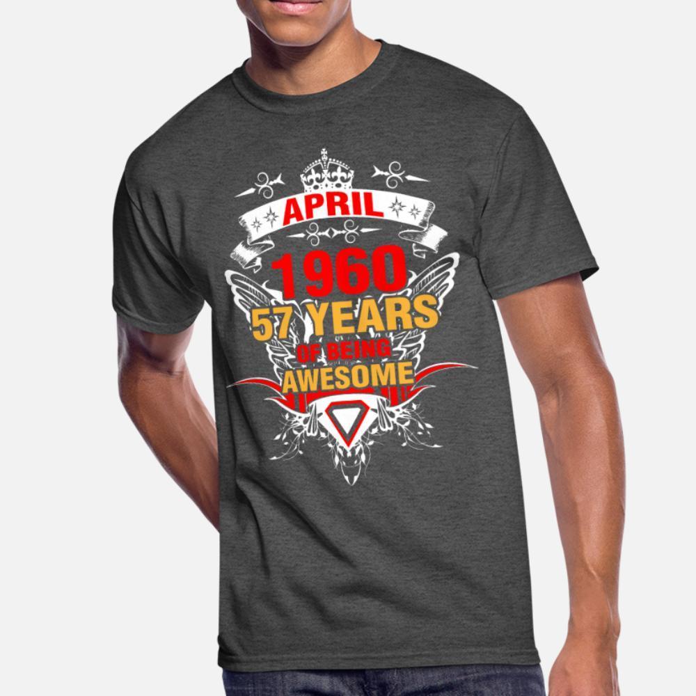 Camisa de abril de 1960 57 años de ser impresionante hombres de la camiseta Personalizar tamaño de la camiseta S-3XL de la novedad del regalo del humor del equipo del verano