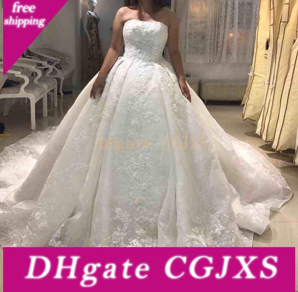 2018 Luxo New Design Bola Vestidos de noiva vestido sem alças Lace Appliqued 3d Backless vestidos de noiva formal árabe Dubai Custom Made