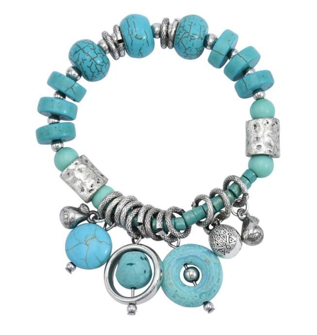 أزياء البوهيمي Vinatge سيلفي الفيروز الأخضر سوار حجر سوار الهندي Statemewnt اليدوية مجوهرات للنساء بنات
