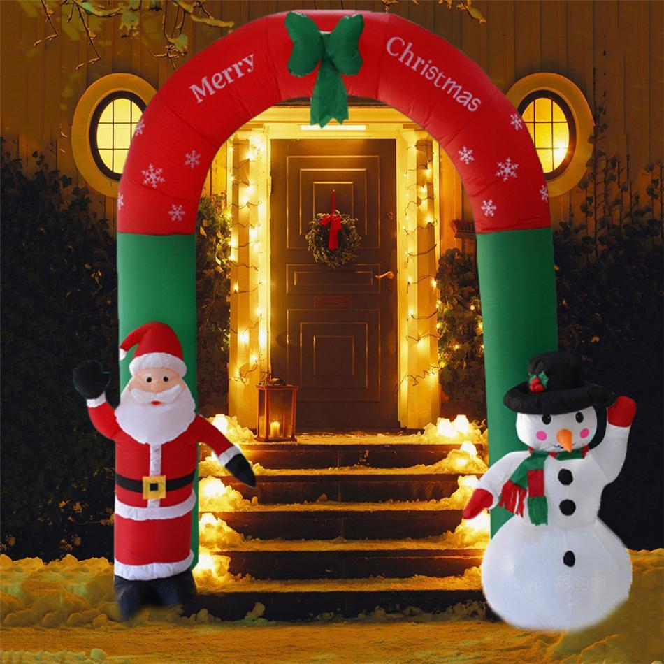 Decorazione esterna gonfiabile Babbo Natale del pupazzo di neve gonfiabile del giardino di Archway di Halloween di Natale Ornamenti di Natale Capodanno giocattolo GWE1872