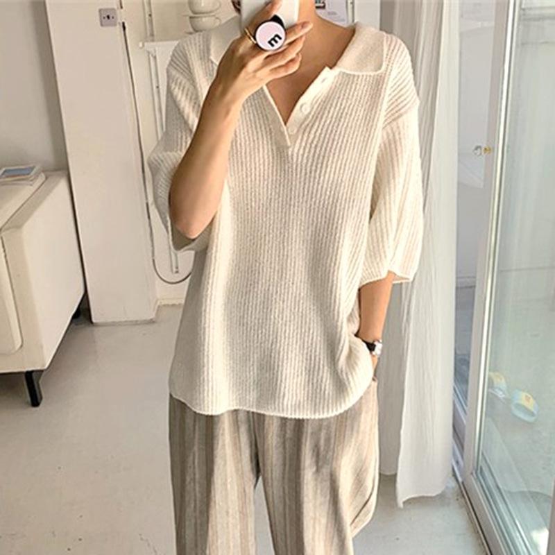 yW7we personalidad coreana del color sólido de punto suéter flojo del POLO de la manga de la solapa Medio temperamento suéter flojo ocasional literaria