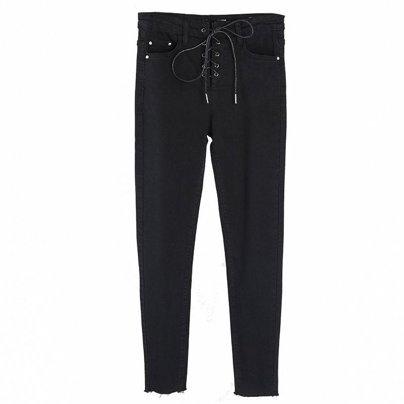 Yamy nuova caduta Womens Jeans Moda Donna lace-up vita alta Denim Pant black / blue jeans sottili inverno magro matita Pant