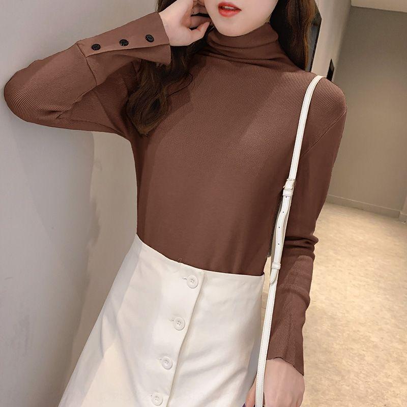 A principios de otoño 99jhy cuello alto de punto de tocar fondo camisa de 2020 nuevos de adelgazamiento delgado y ligero diseño de ajuste para las mujeres jersey jersey